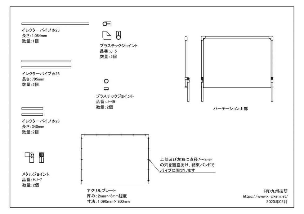 手話通訳士のためのアクリルパーテーション材料②
